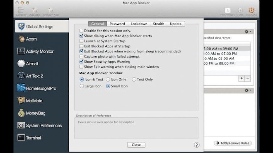 Mac App Blocker for Mac - review, screenshots
