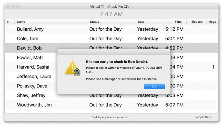 Virtual TimeClock Pro Client for Mac - review, screenshots