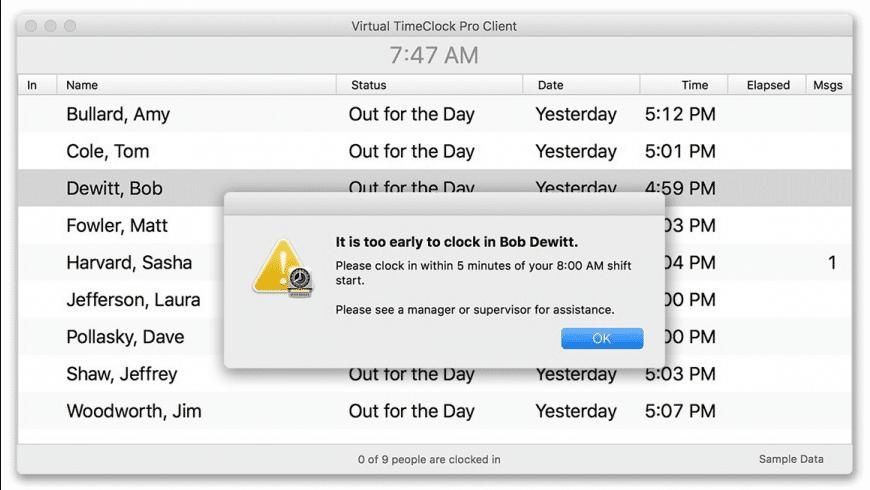 Virtual TimeClock Server for Mac - review, screenshots