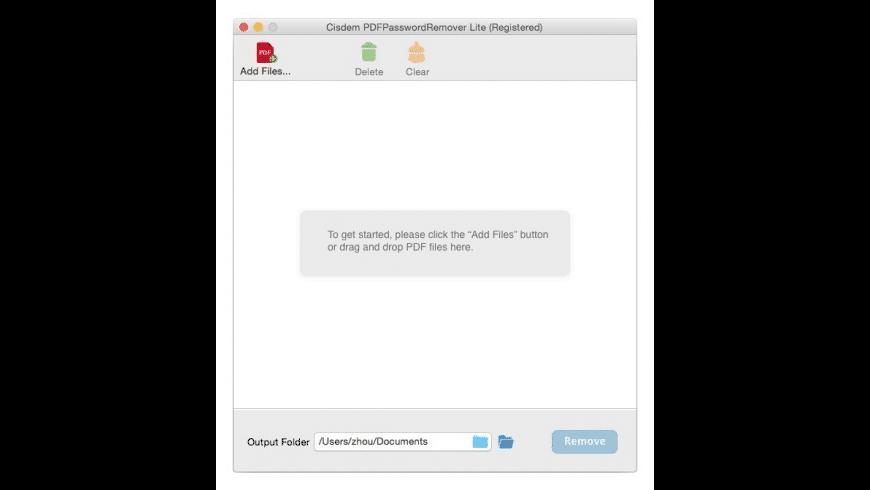 Cisdem PDFPasswordRemover Lite for Mac - review, screenshots