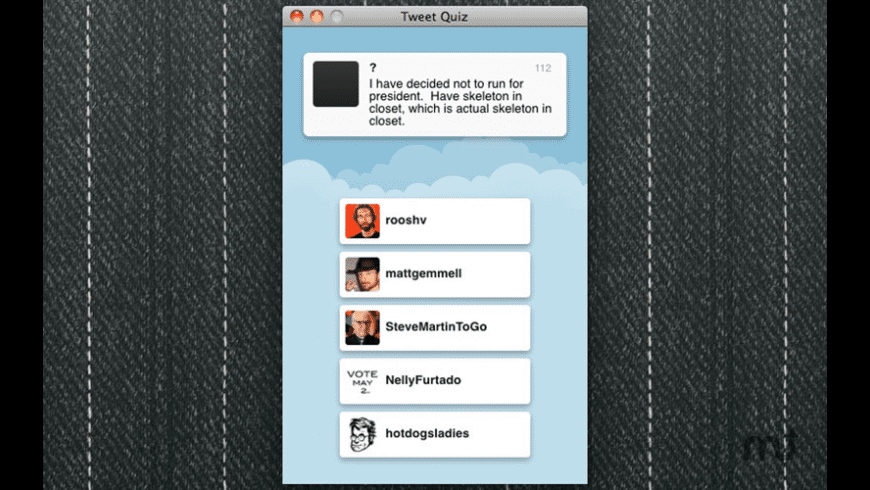Tweet Quiz for Mac - review, screenshots
