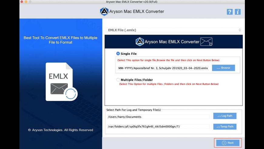 Aryson EMLX Converter for Mac - review, screenshots