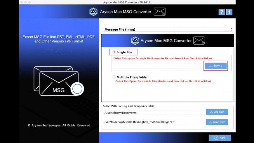 Aryson MSG Converter for Mac - review, screenshots