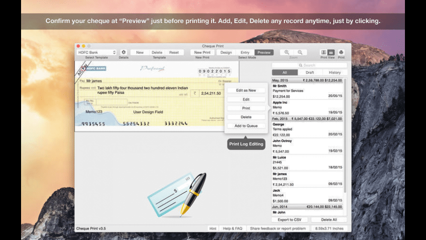 Cheque Print 2 for Mac - review, screenshots