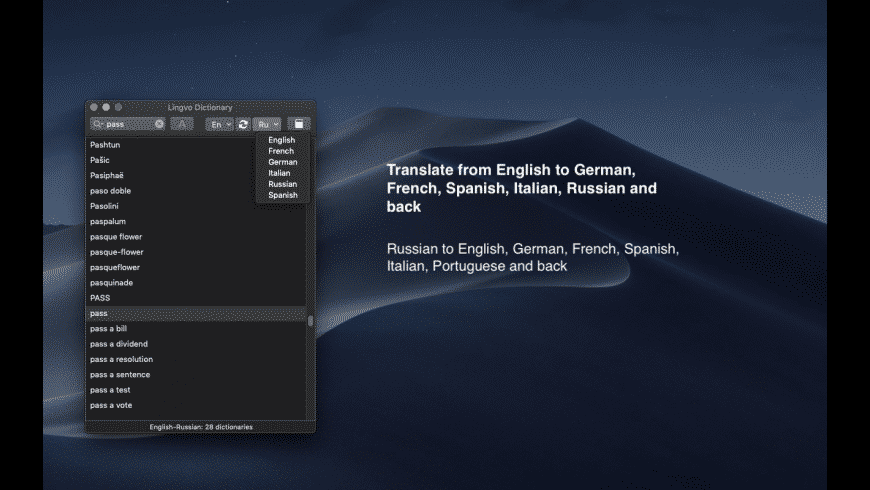 Lingvo European Dictionary for Mac - review, screenshots