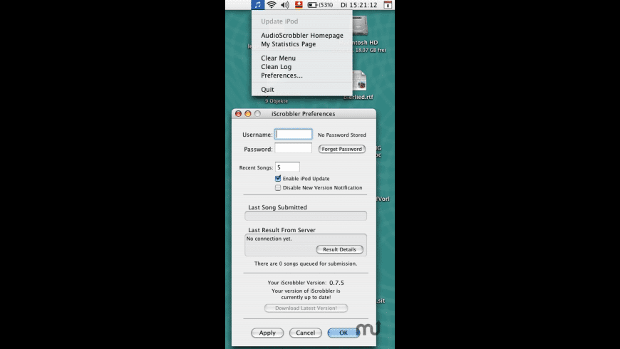 iScrobbler for Mac - review, screenshots