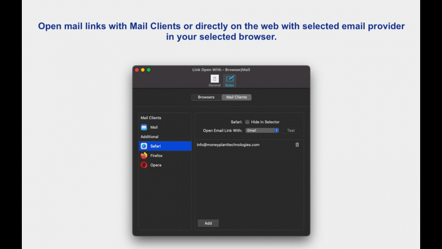 Link Open With - Browser/Mail for Mac - review, screenshots
