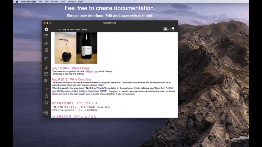 noteCafe Stylo for Mac - review, screenshots