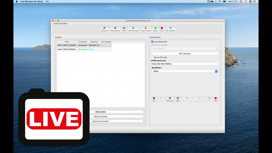 Live Streamer for GoPro Heros for Mac - review, screenshots