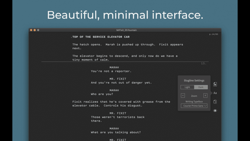 Slugline for Mac - review, screenshots