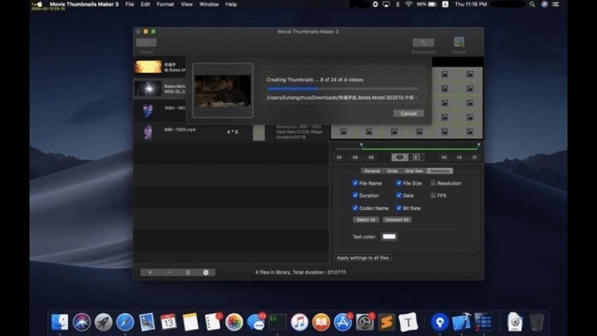 Movie Thumbnails Maker for Mac - review, screenshots