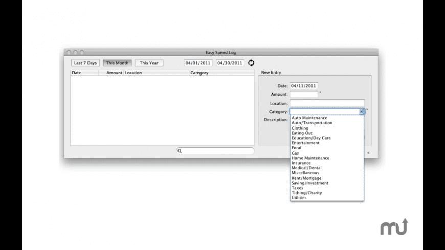 Easy Spend Log for Mac - review, screenshots