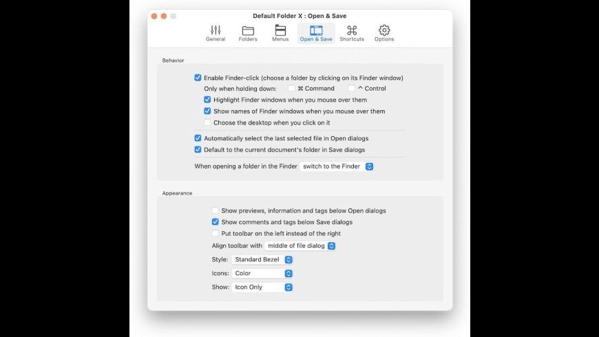 Default Folder X for Mac - review, screenshots