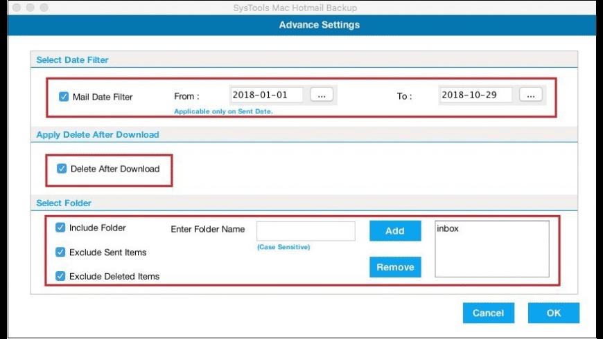 SysTools Hotmail Backup for Mac - review, screenshots