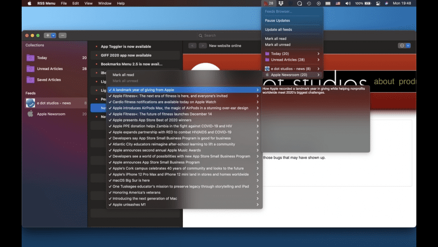 RSS Menu for Mac - review, screenshots