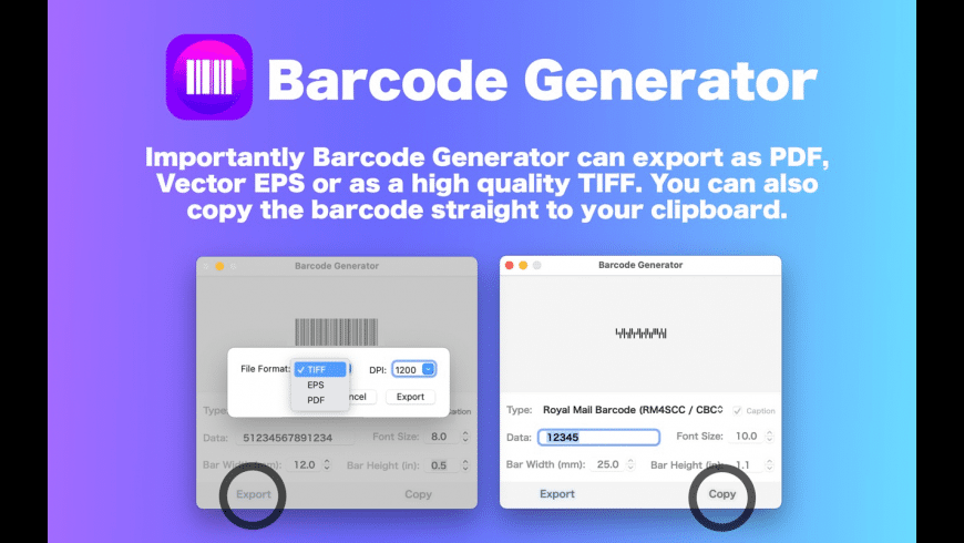 Barcode Generator / Creator for Mac - review, screenshots