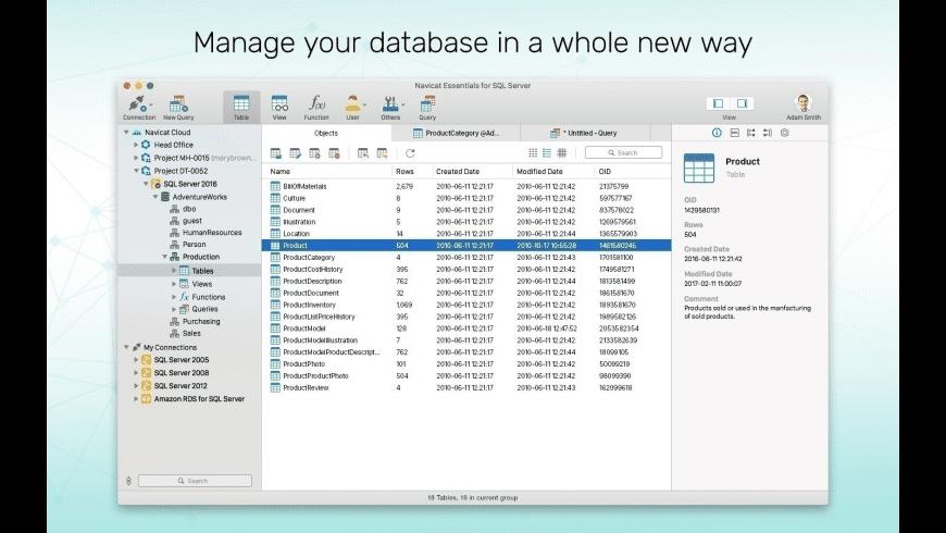 Navicat Essentials for SQL Server for Mac - review, screenshots