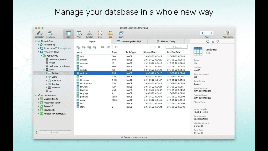 Navicat Essentials for MySQL for Mac - review, screenshots
