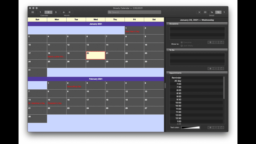 Growly Calendar for Mac - review, screenshots