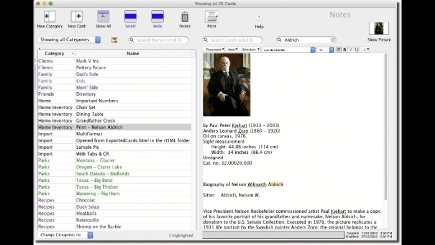 EasyCardFile for Mac - review, screenshots