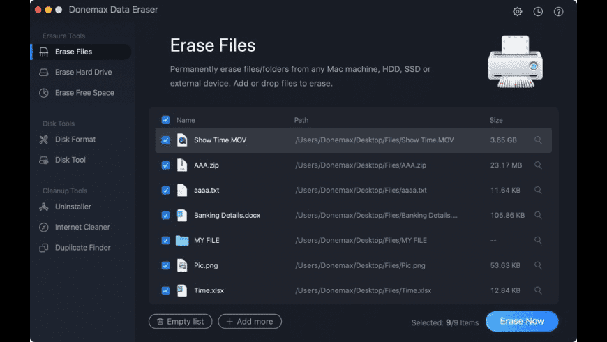 Donemax Data Eraser for Mac - review, screenshots