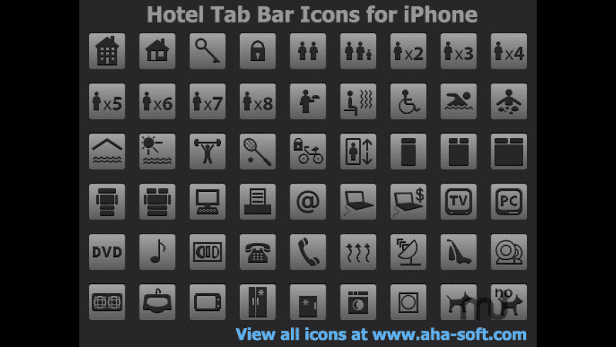 Hotel Tab Bar Icons for iPhone for Mac - review, screenshots
