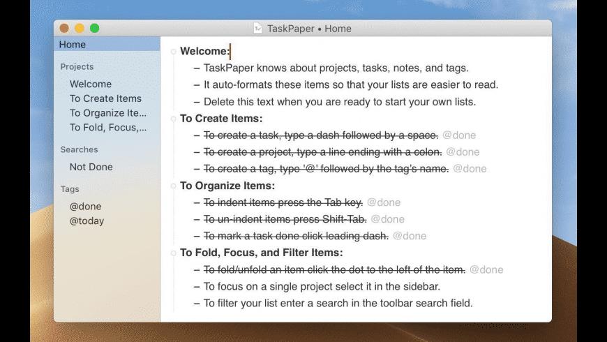 TaskPaper for Mac - review, screenshots