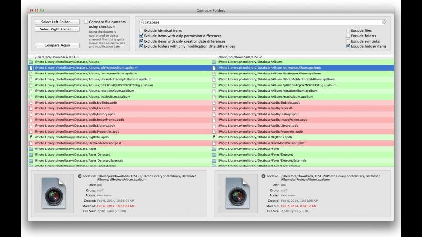 Compare Folders for Mac - review, screenshots