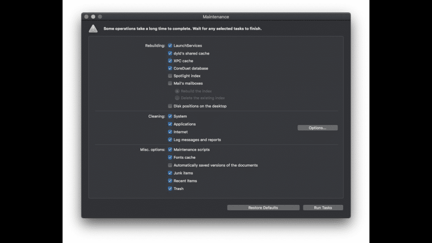 Maintenance for Mac - review, screenshots