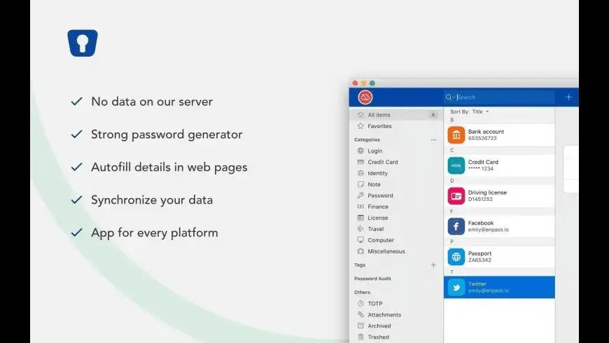 Enpass Portable for Mac - review, screenshots