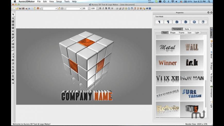 Aurora 3D Text & Logo Maker for Mac - review, screenshots