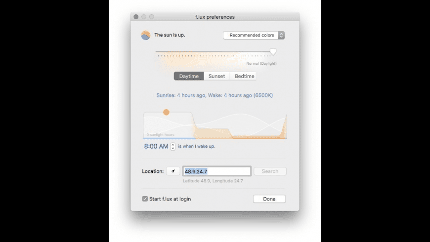 f.lux for Mac - review, screenshots