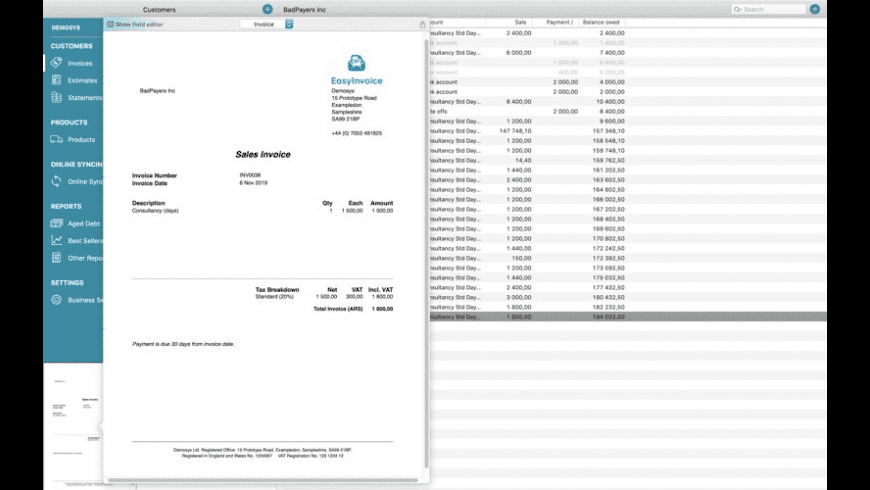 Easy Invoice (PDF generator) for Mac - review, screenshots
