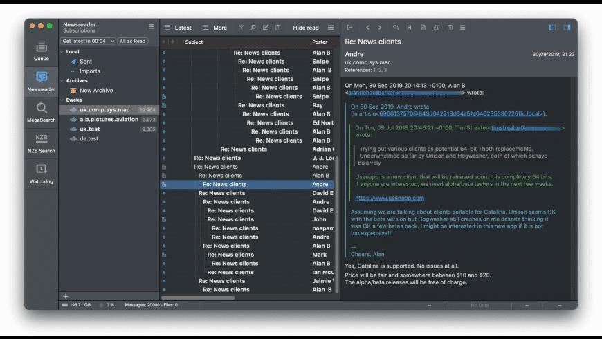 Usenapp for Mac - review, screenshots