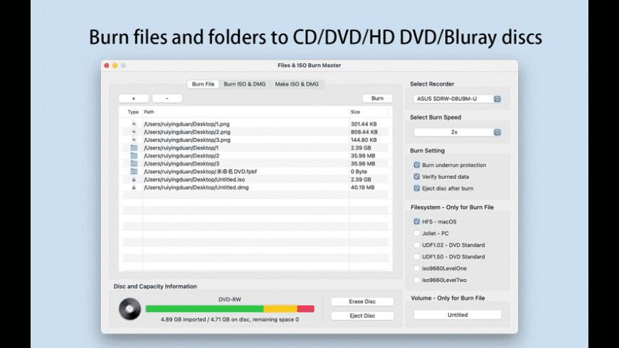 Files & ISO Burn Master for Mac - review, screenshots