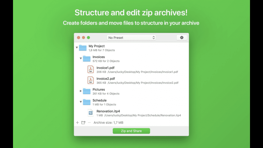 Zip-Share for Mac - review, screenshots