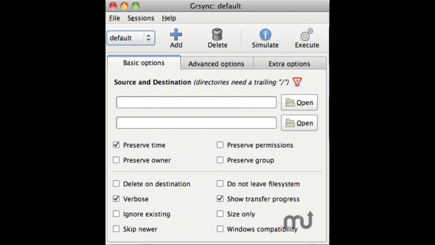 Grsync for Mac - review, screenshots