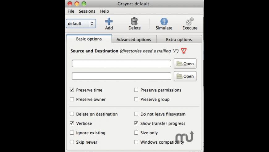 Grsync for Mac - review, screenshots