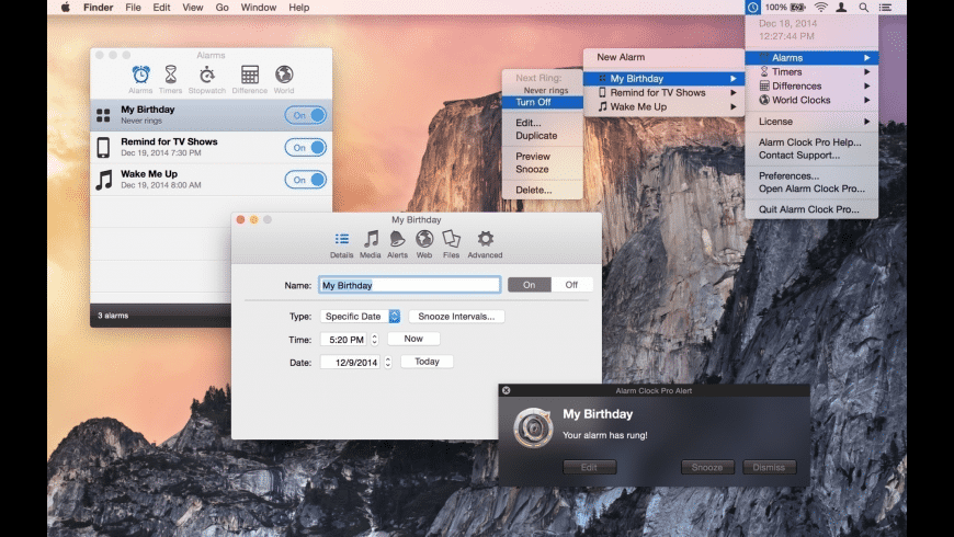 Alarm Clock Pro for Mac - review, screenshots