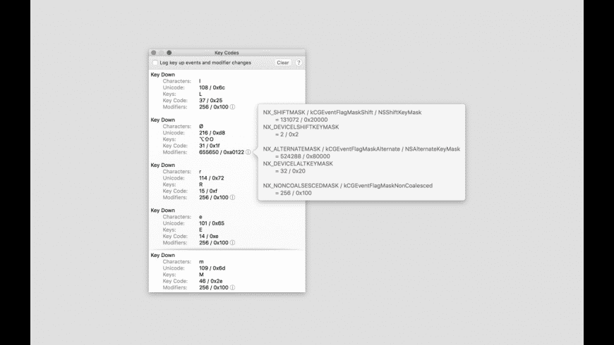 Key Codes for Mac - review, screenshots