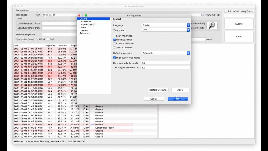 Earthquake Bulletin for Mac - review, screenshots