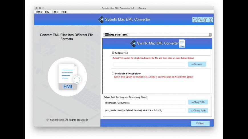 SysInfo Mac EML Converter for Mac - review, screenshots