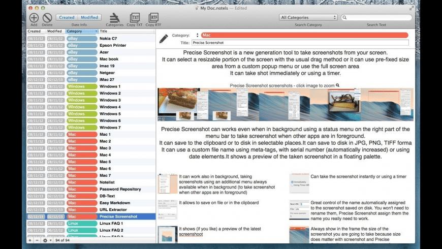 NoteList for Mac - review, screenshots