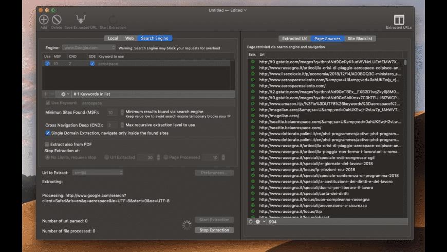URL Extractor for Mac - review, screenshots