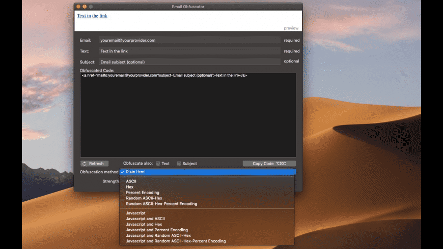 Email Obfuscator for Mac - review, screenshots