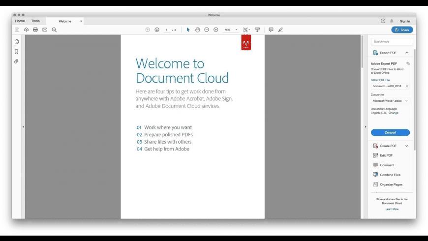 Adobe Acrobat Reader for Mac - review, screenshots