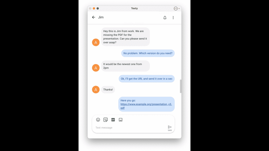 Texty for Google Messages for Mac - review, screenshots