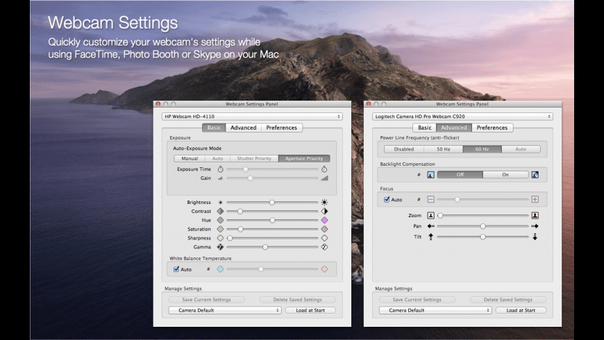 Webcam Settings for Mac - review, screenshots
