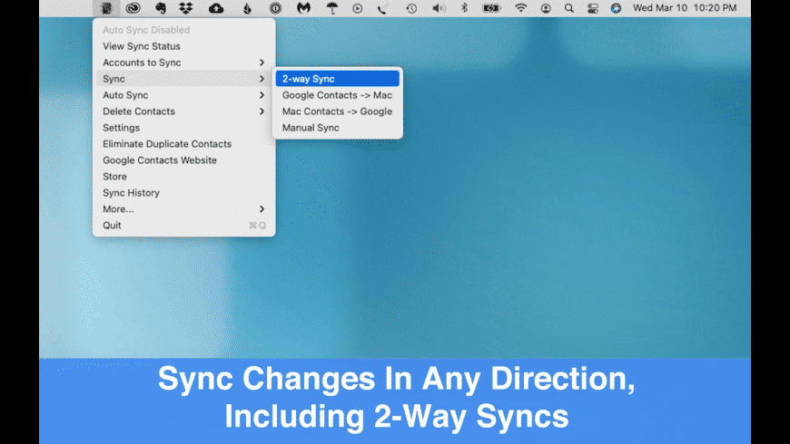 Contacts Sync for Google Gmail for Mac - review, screenshots
