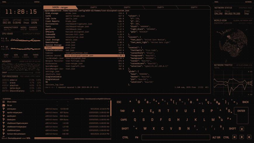 eDEX-UI for Mac - review, screenshots